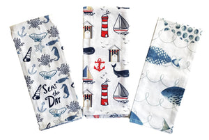 Coastal Printed Kitchen Towels – Set of 3