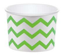 Load image into Gallery viewer, 12 White Paper Disposable Treat, Snack Serving Cups with Lime Green Pattern