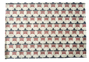 Patriotic Americana Printed Red, White and Blue Flag Stars Placemats – Set of 4