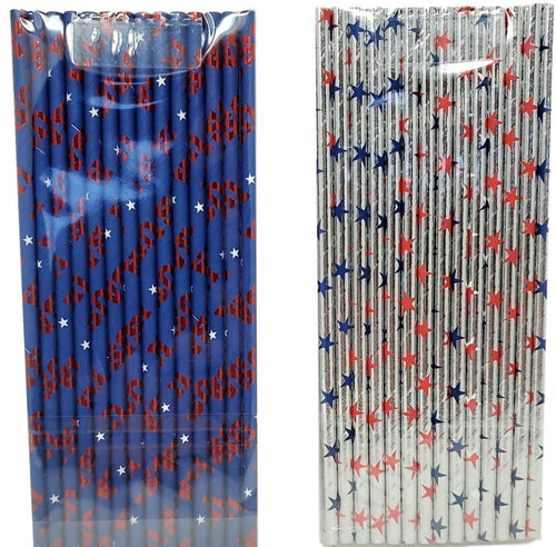 Patriotic 14 Count Paper Straws Assorted – 2 Pack