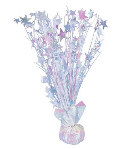 White Iridescent Star 15-inch Balloon Weight Centerpiece