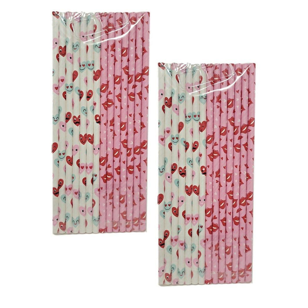 Valentine's Day 14 Count Pink and White Paper Straws Assorted – 2 Pack