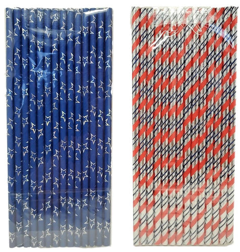 Patriotic 14 Count Stars and Stripes Paper Straws Assorted – 2 Pack