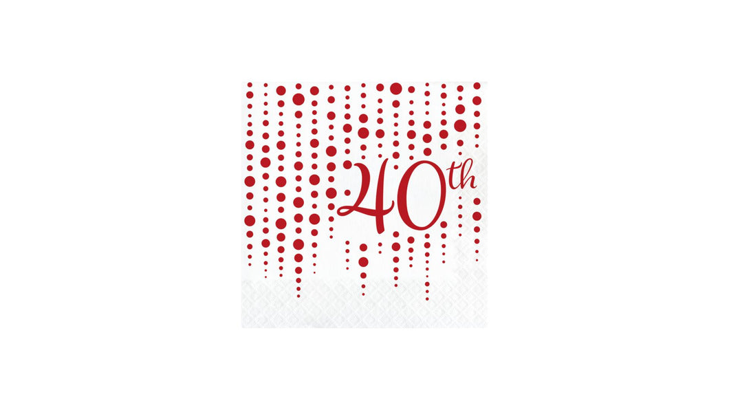 Ruby 40th Anniversary Luncheon Napkins – 16 Count