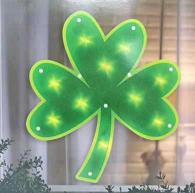 Lighted St. Patrick's Shamrock Window Silhouette Decoration
