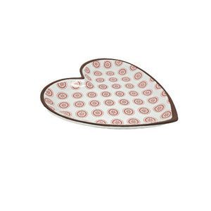 Red Cherry Dot Heart-Shaped Terracotta Plate 8.5 X 9""