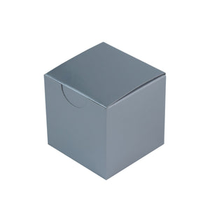 "2"" x 2"" Silver Party Candy Favor Paper Boxes – 12 Pieces"