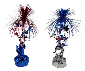 Patriotic Tinsel 12-inch Centerpiece Balloon Weight 2 Assorted