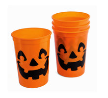 Load image into Gallery viewer, Halloween Pumpkin Jack-o-Lantern Plastic Cups – Set of 4