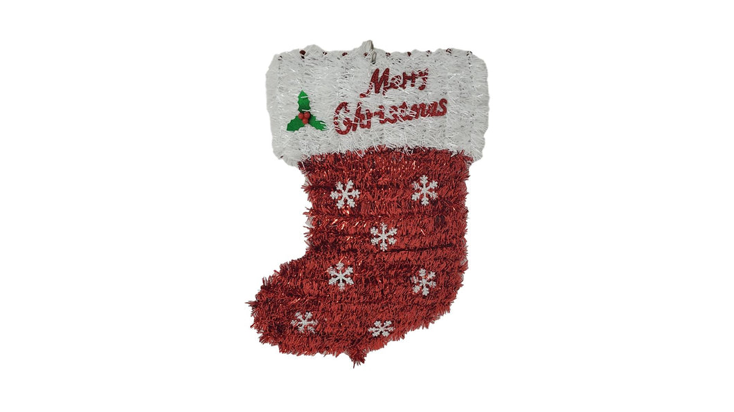 "Christmas Tinsel Stocking ""Merry Christmas"" 14"" x 10"" – 1 Piece"