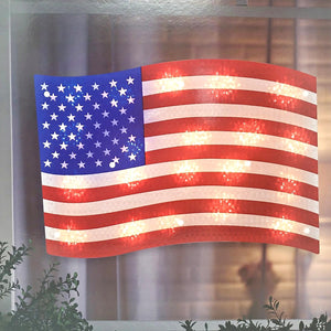 Lighted Patriotic Flag Window Silhouette Decoration