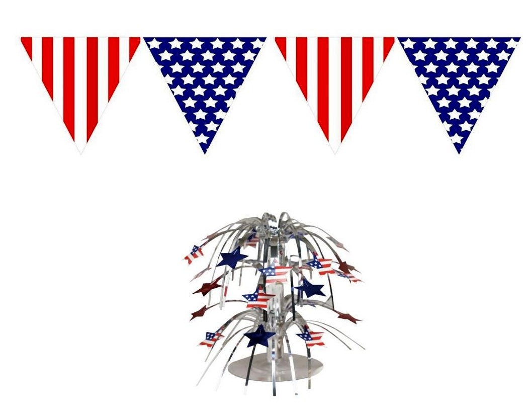 Patriotic 2 Piece Decorating Set – Pennant Banner and Cascade Centerpiece