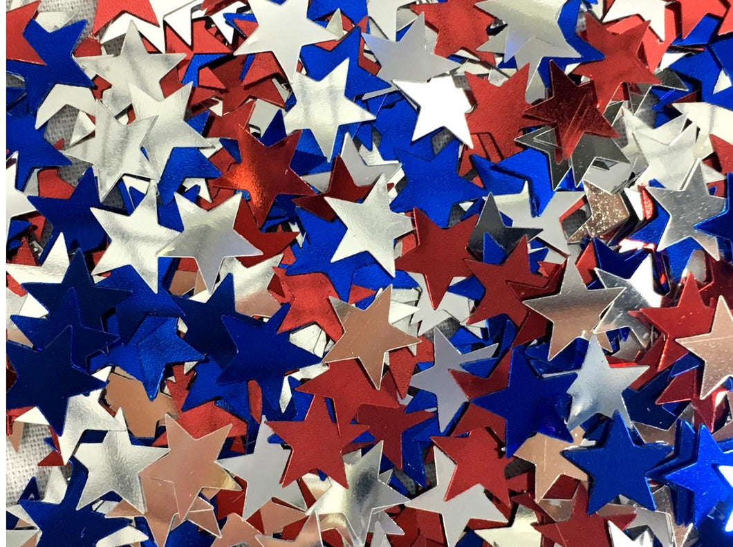 Patriotic Red, Blue and Silver Party Star Confetti 0.5oz – 2 Bags