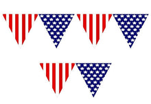 Load image into Gallery viewer, Patriotic Pennant Banner 12ft long- 1pc