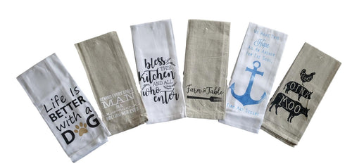 Variety Sayings Kitchen/Hand Towels – Set of 6