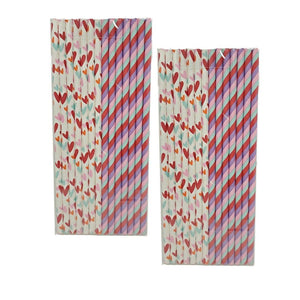 Valentine's Day 14 Count Striped and White Paper Straws Assorted – 2 Pack