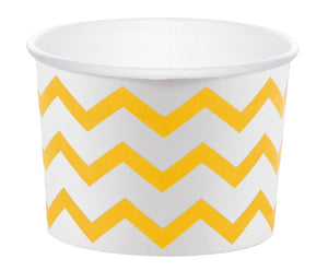 12 White Paper Disposable Treat, Snack Serving Cups with School Bus Yellow Pattern