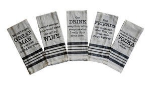Vintage Sayings Kitchen/Hand Tea Towels – Set of 5