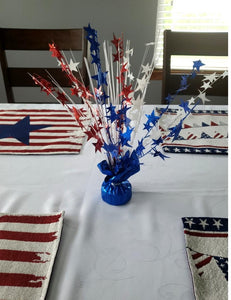 Patriotic Red, White and Blue Star 15-inch Balloon Weight Centerpiece