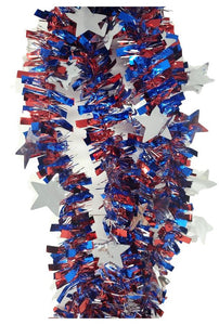 Patriotic Tinsel Skinny Red, White, and Blue Garland with Stars