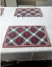 Load image into Gallery viewer, Patriotic Americana Tapestry Red, White and Blue Placemats – Set of 4