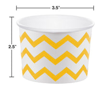 Load image into Gallery viewer, 12 White Paper Disposable Treat, Snack Serving Cups with School Bus Yellow Pattern