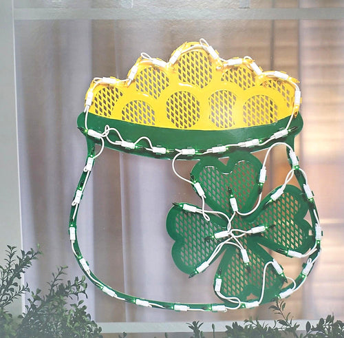 Lighted St. Patrick's Day Pot of Gold Window Silhouette Decoration