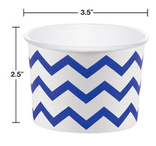 Load image into Gallery viewer, 12 White Paper Disposable Treat, Snack Serving Cups with Royal Blue Pattern