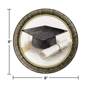 Graduation Classic 9-inch Dessert Paper Disposable Plates – 8 Count