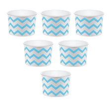 Load image into Gallery viewer, 12 White Paper Disposable Treat, Snack Serving Cups with Light Blue Pattern