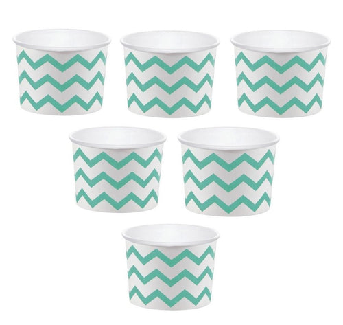 12 White Paper Disposable Treat, Snack Serving Cups with Mint Green Pattern