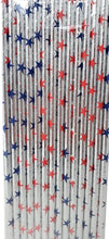 Load image into Gallery viewer, Patriotic 14 Count Paper Straws Assorted – 2 Pack