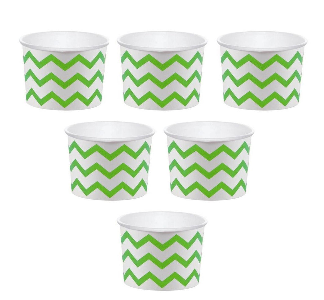 12 White Paper Disposable Treat, Snack Serving Cups with Lime Green Pattern