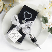 Load image into Gallery viewer, Silver Metal Heart-Shaped Wine Bottle Stopper Wedding Favor with Velvet Gift Box - 1 Piece