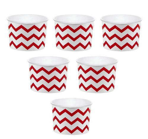 12 White Paper Disposable Treat, Snack Serving Cups with Red Pattern