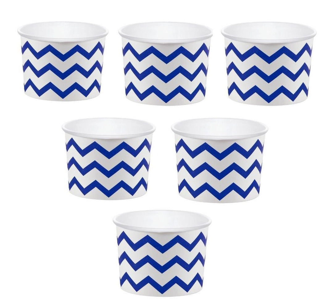 12 White Paper Disposable Treat, Snack Serving Cups with Royal Blue Pattern