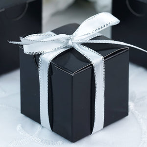 "2"" x 2"" Black Party Candy Favor Paper Boxes – 12 Pieces"