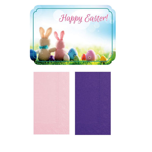 """Happy Easter"" Paper Placemats and Napkins Combo Pack - Set of 8"