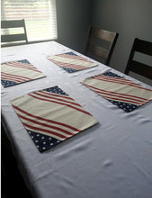 Load image into Gallery viewer, Patriotic Americana Printed Red, White and Blue Placemats – Set of 4