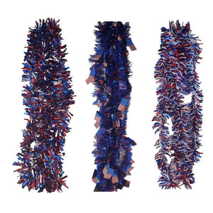 Patriotic Tinsel Skinny Red, White, and Blue Garland