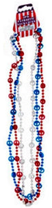 Patriotic Red, White and Blue Necklace Beads 6 assorted Styles – 18 Count