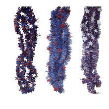 Load image into Gallery viewer, Patriotic Tinsel Skinny Red, White, and Blue Garland with Stars