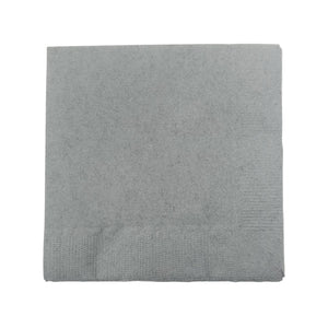 Silver Plain Solid Color Paper Disposable Cocktail Beverage Napkins