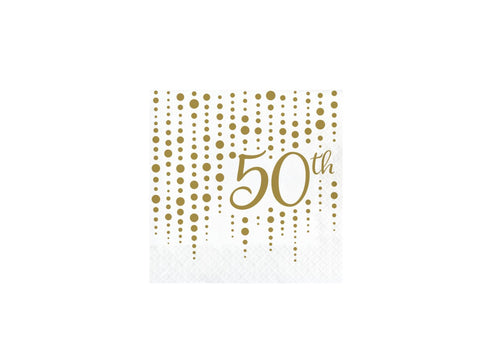 Gold 50th Anniversary Luncheon Napkins – 16 Count