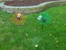 Load image into Gallery viewer, Halloween Spider Web Plastic Yard Stakes 2 Assorted Colors