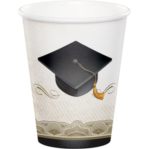 Classic Graduation 9 oz Hot/Cold Paper Cups – 8 CT