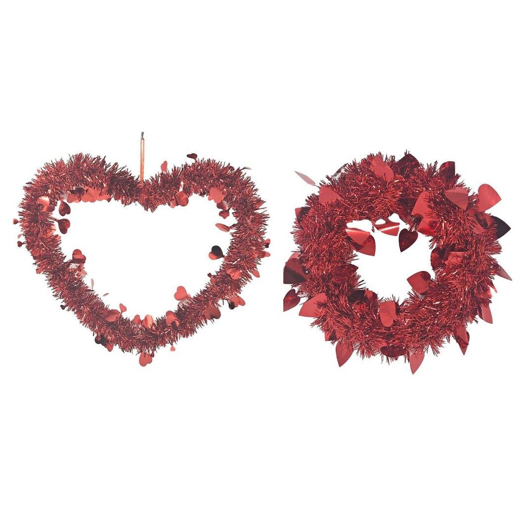 Valentine's Day Red Tinsel Decoration – Hanging Heart and Wreath
