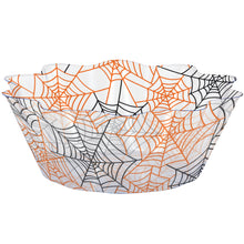 Load image into Gallery viewer, Halloween Orange and Black Spider Webs Plastic Fluted Serving Bowl – 1 Piece