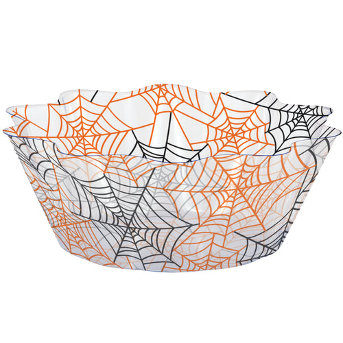 Halloween Orange and Black Spider Webs Plastic Fluted Serving Bowl – 1 Piece