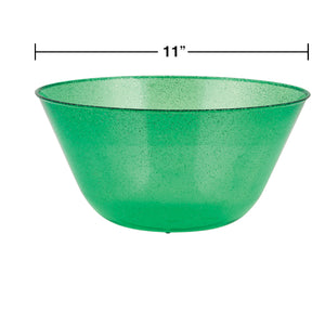 Christmas Green Glitter Plastic Serving Bowl – 1 Piece